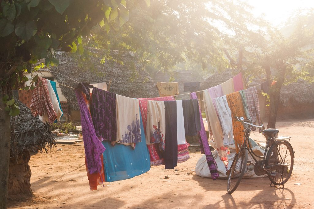 Dry clothes in the garden